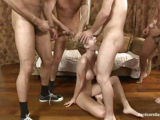 great gang bang with blonde slut jessie
