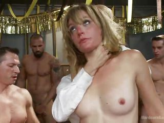 terrific gangbang with a blonde milf