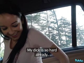 brunette beauty sucks a fat cock for cash in the car