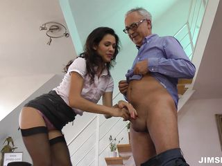 sexy office worker takes it from her older boss
