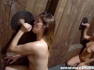 czech babes are used for sex at gloryholes