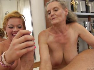 granddaughter and her grandmother are sucking rocco's dick @ rocco's intimate castings