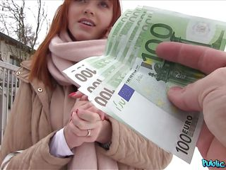 redhead euro babe wanks and suck cock for some moola