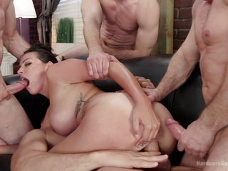 brunette gets all her holes stuffed